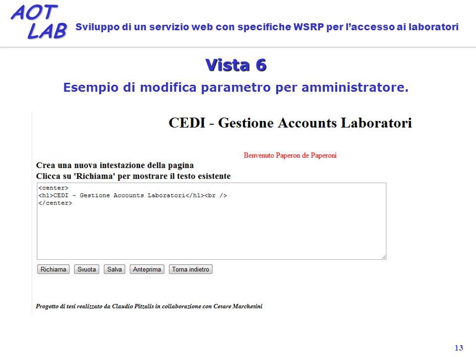 13 AOT LAB LAB Sviluppo di un servizio web con specifiche WSRP per laccesso ai laboratori Vista 6 Esempio di modifica parametro per amministratore.