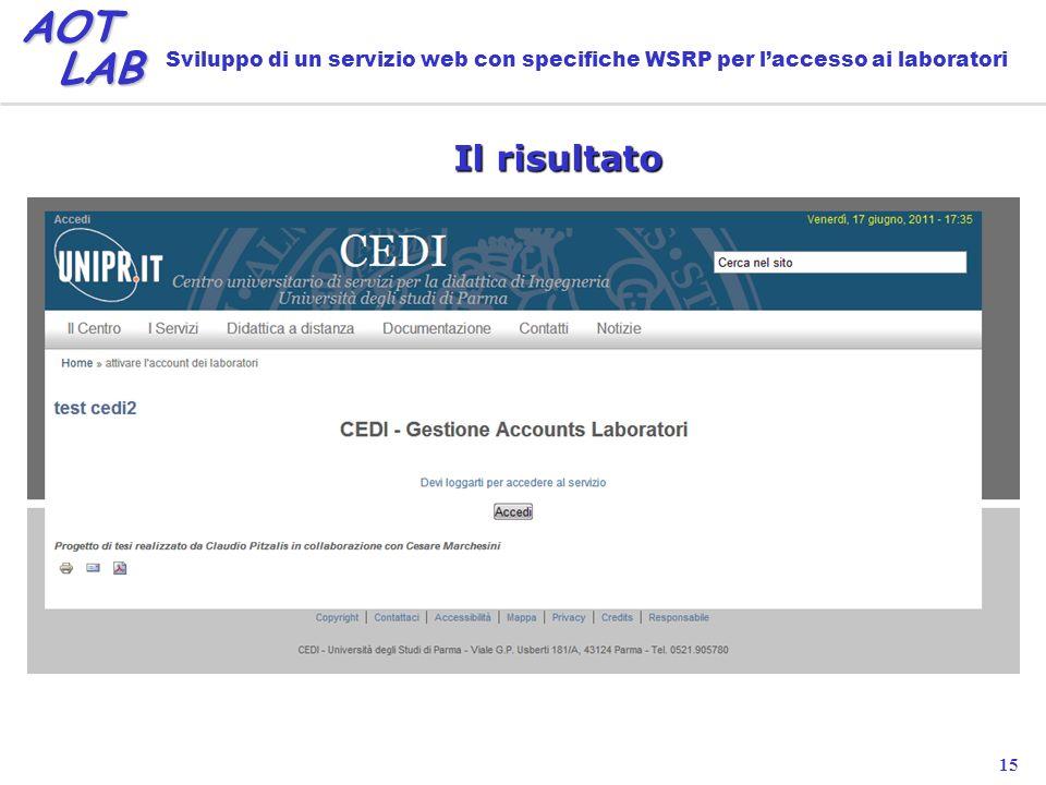 15 AOT LAB LAB Sviluppo di un servizio web con specifiche WSRP per laccesso ai laboratori Il risultato