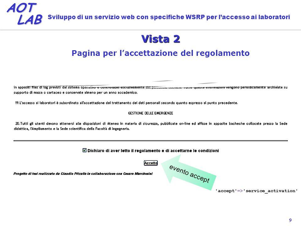 9 AOT LAB LAB Sviluppo di un servizio web con specifiche WSRP per laccesso ai laboratori Vista 2 Pagina per laccettazione del regolamento evento accept