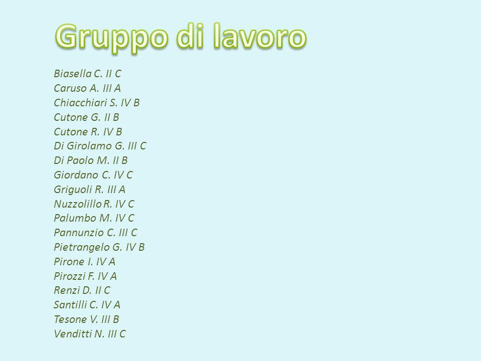 Biasella C. II C Caruso A. III A Chiacchiari S. IV B Cutone G. II B Cutone R. IV B Di Girolamo G. III C Di Paolo M. II B Giordano C. IV C Griguoli R.
