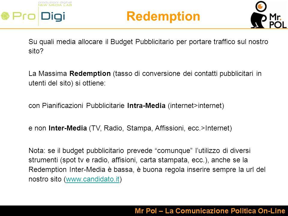 Redemption Su quali media allocare il Budget Pubblicitario per portare traffico sul nostro sito.
