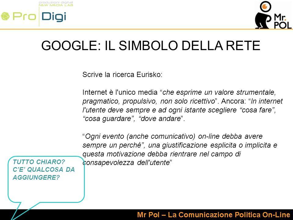 Scrive la ricerca Eurisko: Internet è l unico media che esprime un valore strumentale, pragmatico, propulsivo, non solo ricettivo.