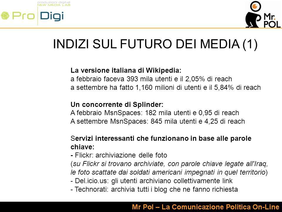 INDIZI SUL FUTURO DEI MEDIA (1) La versione italiana di Wikipedia: a febbraio faceva 393 mila utenti e il 2,05% di reach a settembre ha fatto 1,160 milioni di utenti e il 5,84% di reach Un concorrente di Splinder: A febbraio MsnSpaces: 182 mila utenti e 0,95 di reach A settembre MsnSpaces: 845 mila utenti e 4,25 di reach Servizi interessanti che funzionano in base alle parole chiave: - Flickr: archiviazione delle foto (su Flickr si trovano archiviate, con parole chiave legate all Iraq, le foto scattate dai soldati americani impegnati in quel territorio) - Del.icio.us: gli utenti archiviano collettivamente link - Technorati: archivia tutti i blog che ne fanno richiesta