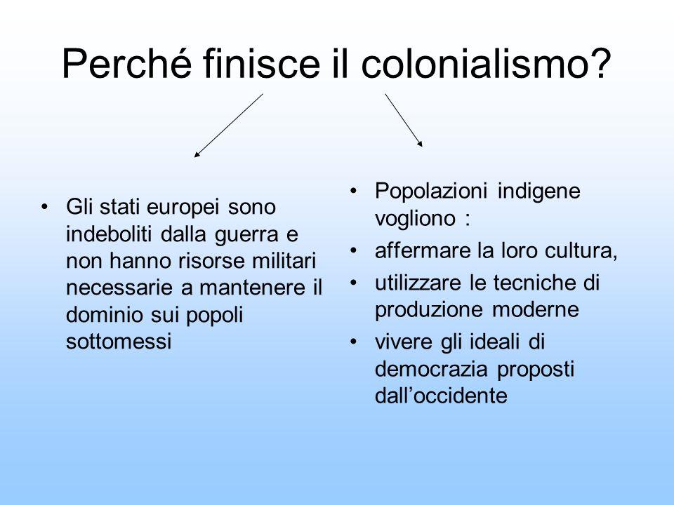 Perché finisce il colonialismo? Gli stati europei sono indeboliti dalla guerra e non hanno risorse militari necessarie a mantenere il dominio sui popo
