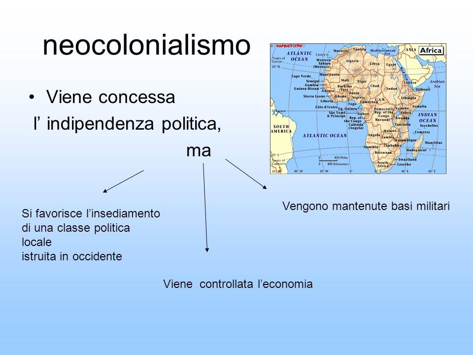 neocolonialismo Viene concessa l indipendenza politica, ma Si favorisce linsediamento di una classe politica locale istruita in occidente Vengono mant