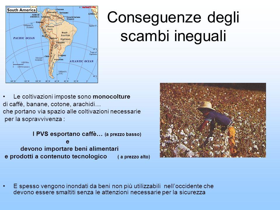 Conseguenze degli scambi ineguali Le coltivazioni imposte sono monocolture di caffè, banane, cotone, arachidi… che portano via spazio alle coltivazion