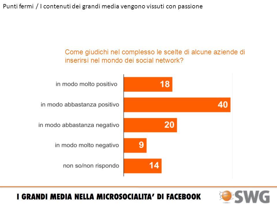 Punti fermi / I contenuti dei grandi media vengono vissuti con passione Come giudichi nel complesso le scelte di alcune aziende di inserirsi nel mondo dei social network