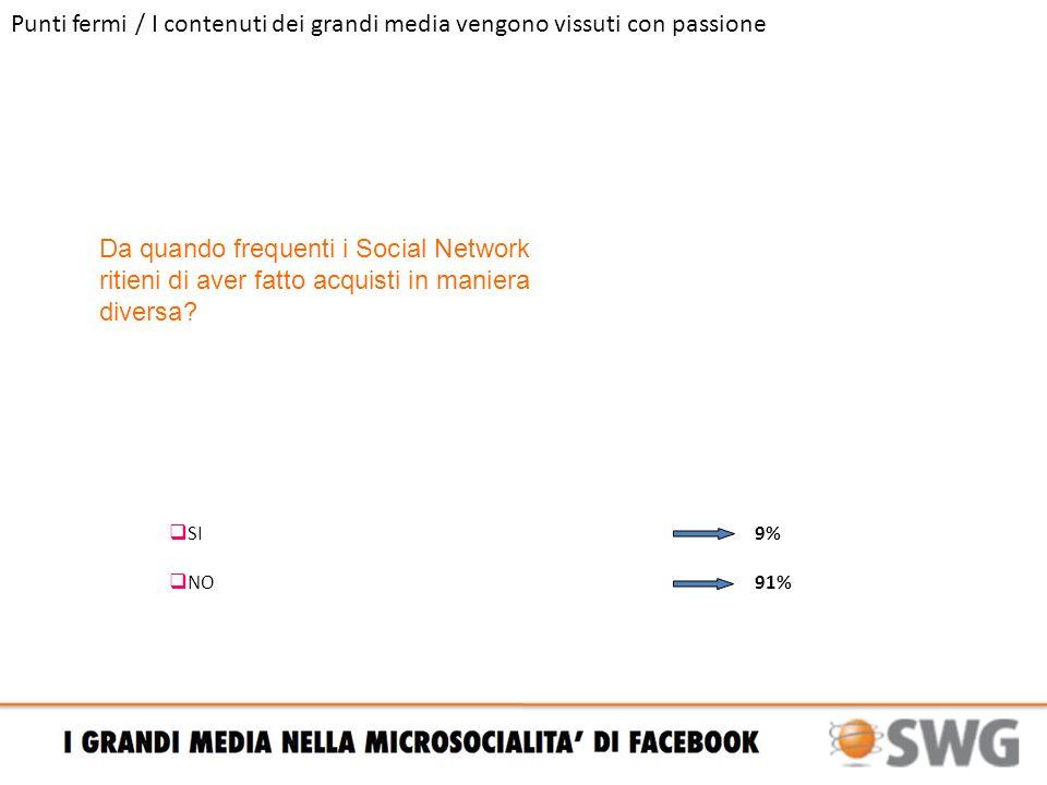 Punti fermi / I contenuti dei grandi media vengono vissuti con passione Da quando frequenti i Social Network ritieni di aver fatto acquisti in maniera diversa.