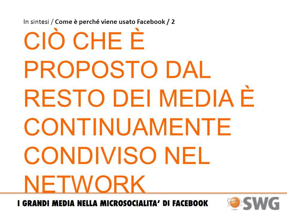 Punti fermi / Quali target dentro i social network FONTE: Osservatorio Facebook