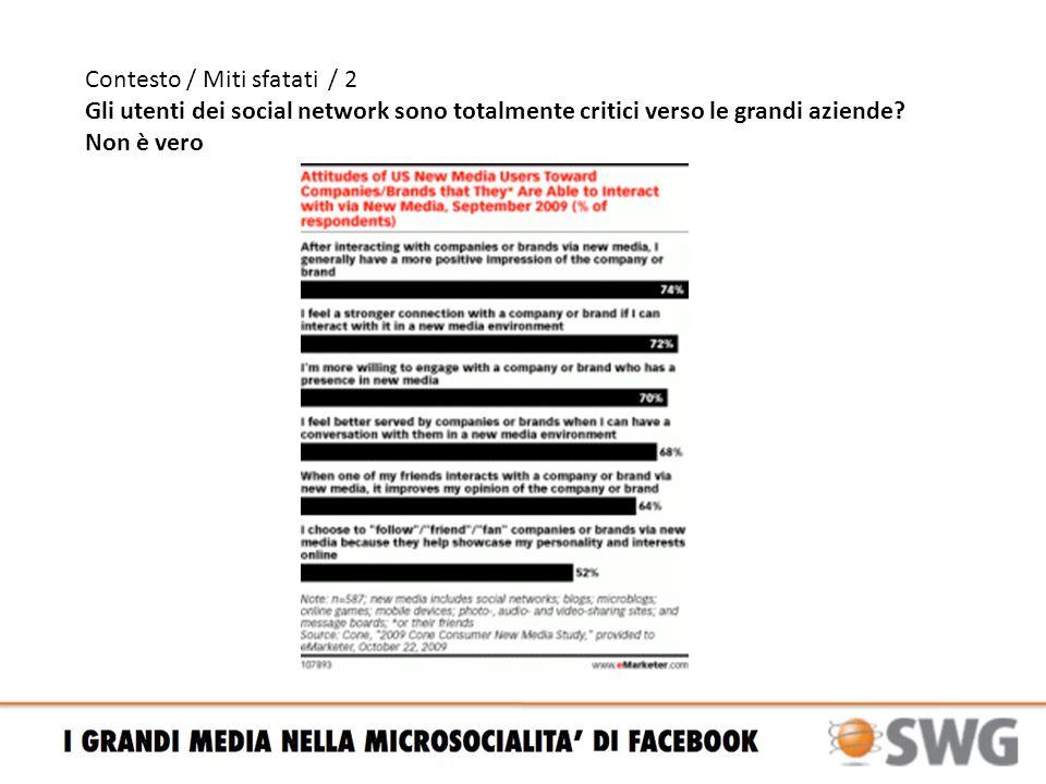 Contesto / Miti sfatati / 2 Gli utenti dei social network sono totalmente critici verso le grandi aziende.