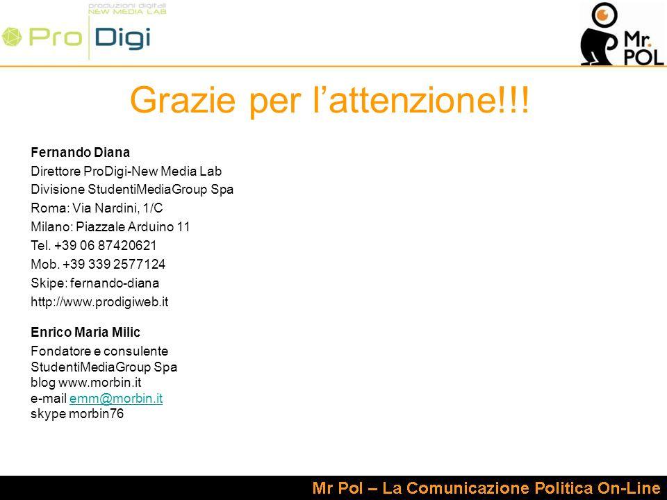 Grazie per lattenzione!!! Fernando Diana Direttore ProDigi-New Media Lab Divisione StudentiMediaGroup Spa Roma: Via Nardini, 1/C Milano: Piazzale Ardu
