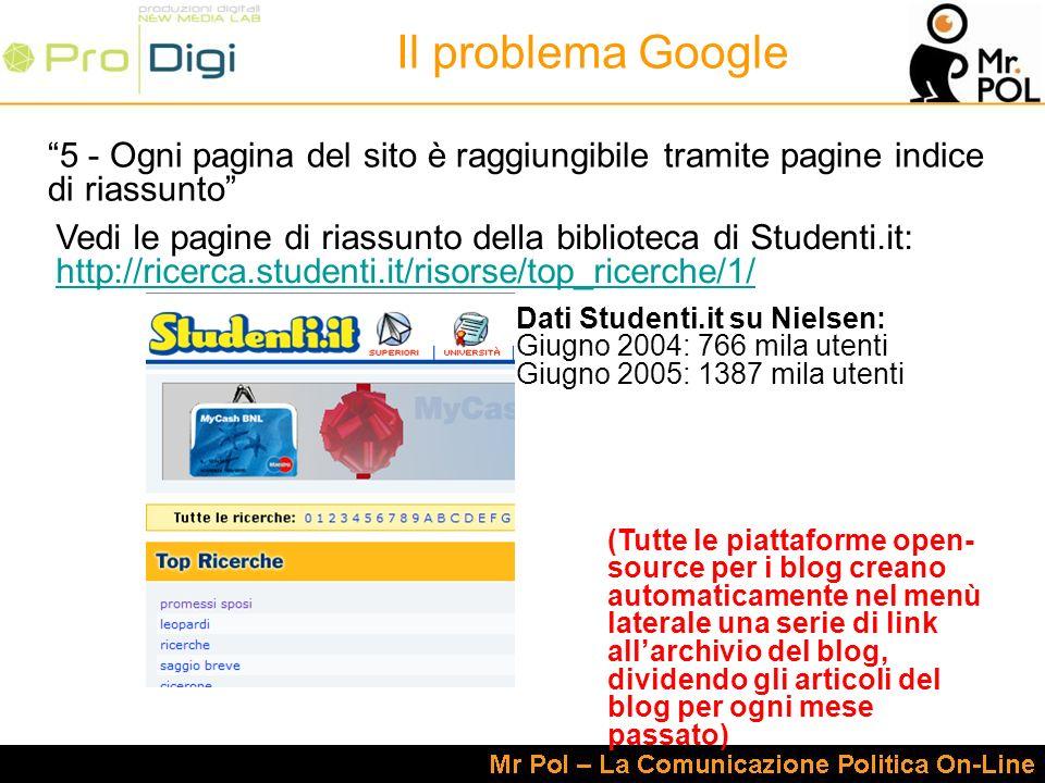 5 - Ogni pagina del sito è raggiungibile tramite pagine indice di riassunto Il problema Google Vedi le pagine di riassunto della biblioteca di Studenti.it: http://ricerca.studenti.it/risorse/top_ricerche/1/ http://ricerca.studenti.it/risorse/top_ricerche/1/ Dati Studenti.it su Nielsen: Giugno 2004: 766 mila utenti Giugno 2005: 1387 mila utenti (Tutte le piattaforme open- source per i blog creano automaticamente nel menù laterale una serie di link allarchivio del blog, dividendo gli articoli del blog per ogni mese passato)