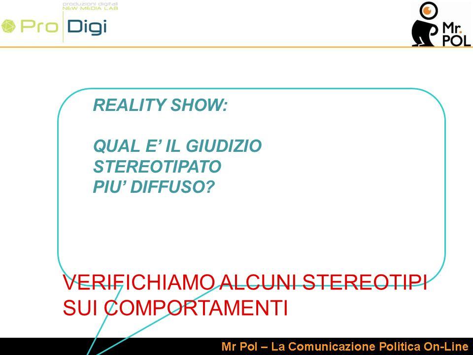 REALITY SHOW: QUAL E IL GIUDIZIO STEREOTIPATO PIU DIFFUSO.