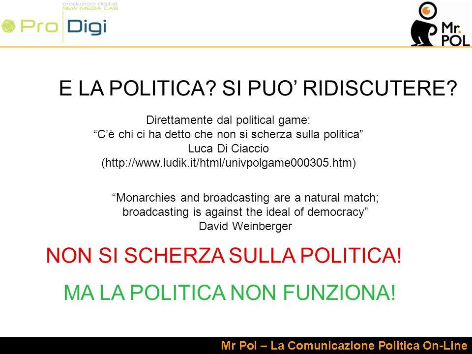 Direttamente dal political game: Cè chi ci ha detto che non si scherza sulla politica Luca Di Ciaccio (http://www.ludik.it/html/univpolgame000305.htm) E LA POLITICA.