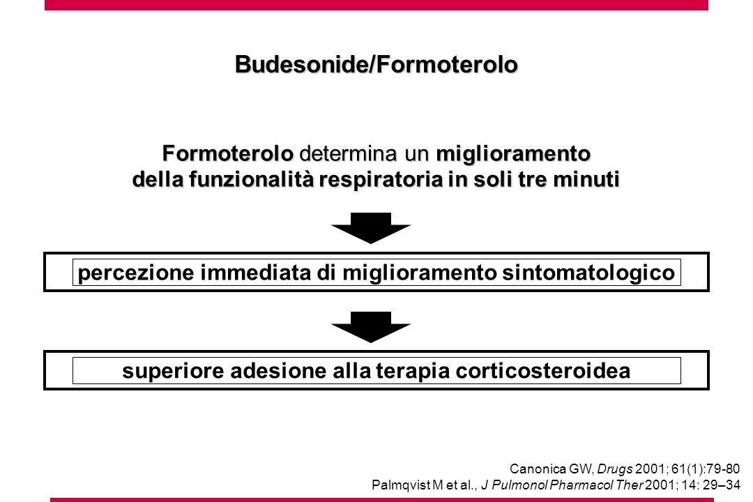 Formoterolo determina un miglioramento della funzionalità respiratoria in soli tre minuti Canonica GW, Drugs 2001; 61(1):79-80 Palmqvist M et al., J Pulmonol Pharmacol Ther 2001; 14: 29–34 percezione immediata di miglioramento sintomatologico superiore adesione alla terapia corticosteroidea Budesonide/Formoterolo
