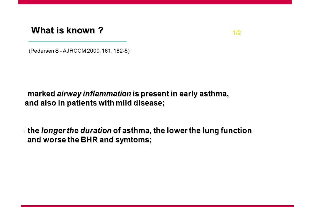 What is known ? marked airway inflammation is present in early asthma, and also in patients with mild disease; and also in patients with mild disease;