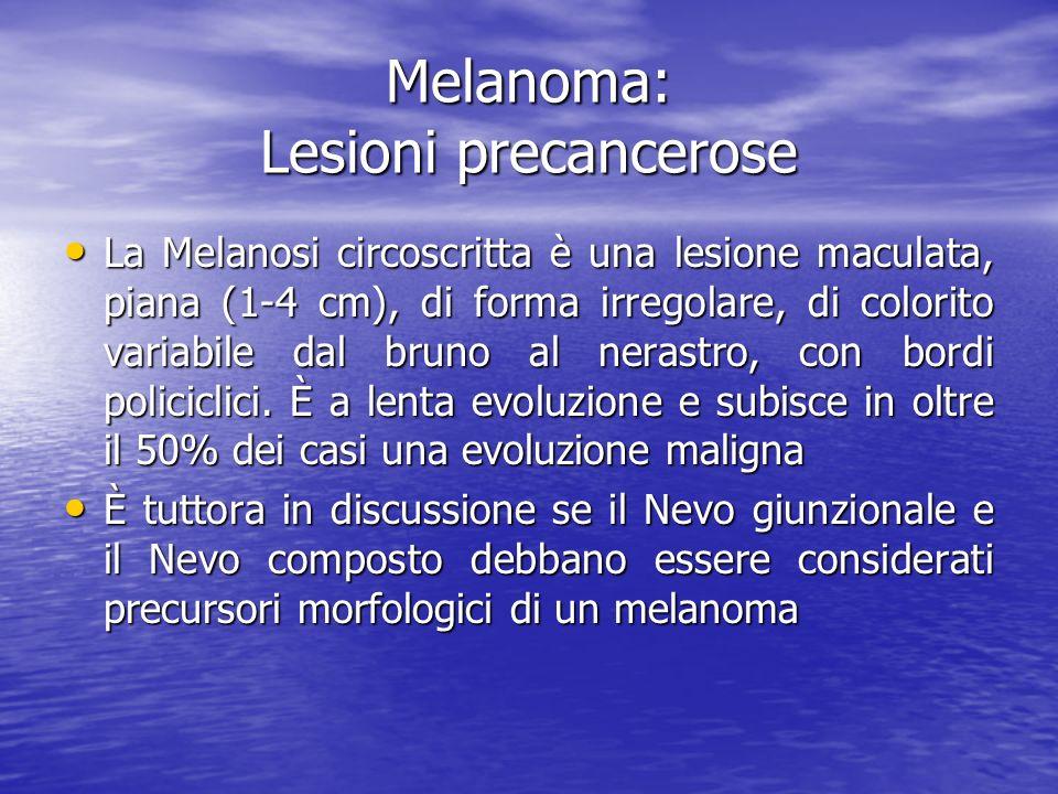 Melanoma: Lesioni precancerose La Melanosi circoscritta è una lesione maculata, piana (1-4 cm), di forma irregolare, di colorito variabile dal bruno a