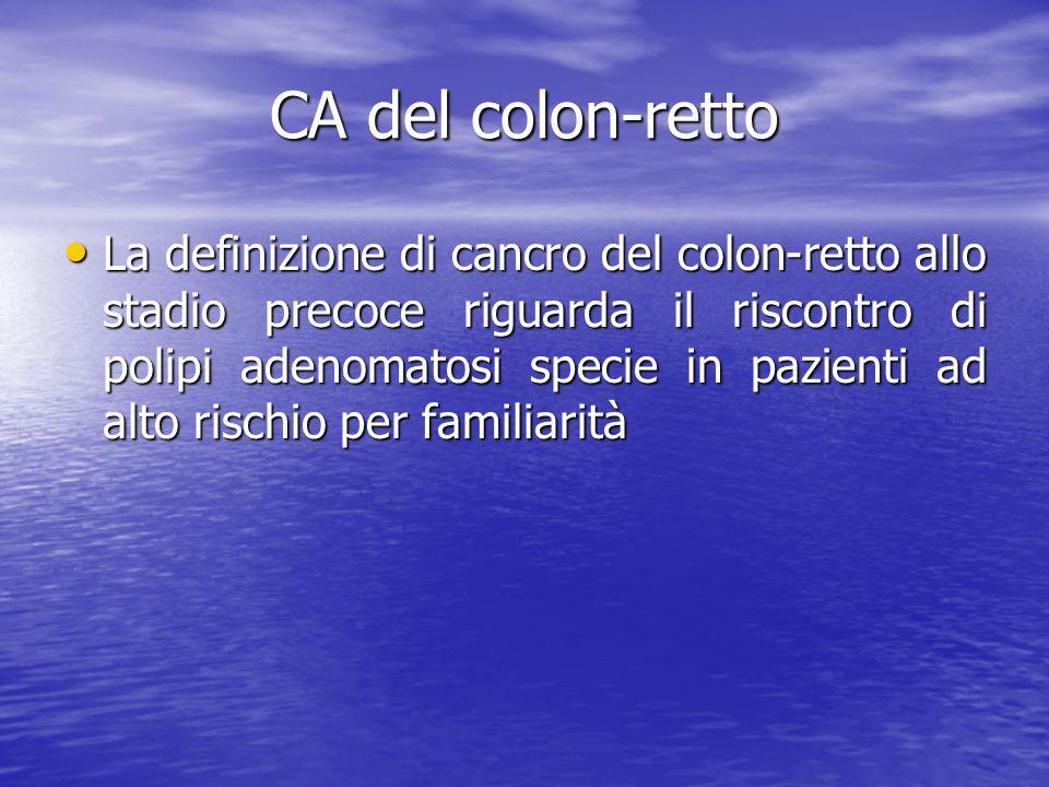 CA del colon-retto La definizione di cancro del colon-retto allo stadio precoce riguarda il riscontro di polipi adenomatosi specie in pazienti ad alto rischio per familiarità La definizione di cancro del colon-retto allo stadio precoce riguarda il riscontro di polipi adenomatosi specie in pazienti ad alto rischio per familiarità