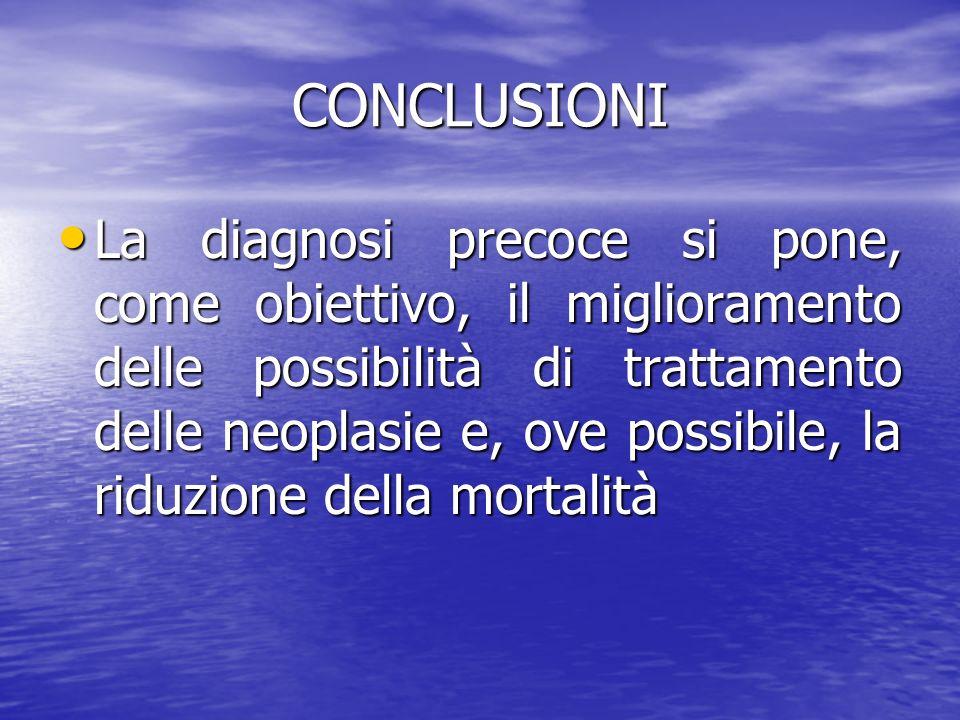 CONCLUSIONI La diagnosi precoce si pone, come obiettivo, il miglioramento delle possibilità di trattamento delle neoplasie e, ove possibile, la riduzi