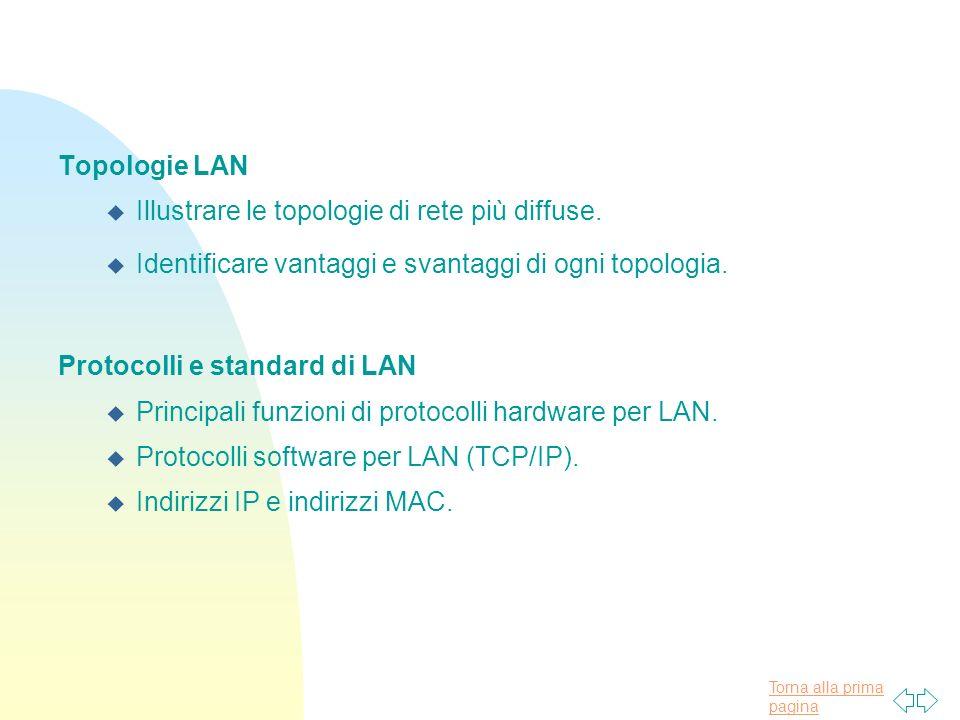 Torna alla prima pagina Topologie LAN u Illustrare le topologie di rete più diffuse. u Identificare vantaggi e svantaggi di ogni topologia. Protocolli