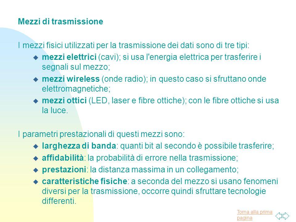 Torna alla prima pagina Mezzi di trasmissione I mezzi fisici utilizzati per la trasmissione dei dati sono di tre tipi: u mezzi elettrici (cavi); si us
