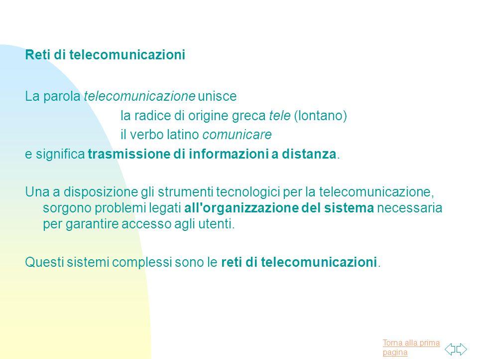 Torna alla prima pagina Alcune importanti date nella storia delle reti di telecomunicazioni: 1835: varato il sistema telegrafico, l inizio delle moderne telecomunicazioni; 1846: inventata da Siemens la telescrivente, il primo terminale automatico; 1866: posato il primo cavo transatlantico telegrafico; 1876: brevettato da Graham Bell il telefono; 1885: nasce la radio con il primo esperimento di Guglielmo Marconi; 1887: inventate le prime centrali telefoniche automatiche; 1956: posato il primo cavo transatlantico telefonico; 1969: realizzata la prima rete di calcolatori, ARPAnet.