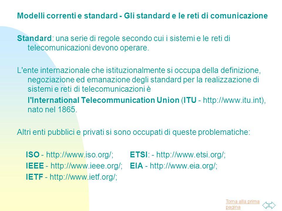 Torna alla prima pagina Modelli correnti e standard - Gli standard e le reti di comunicazione Standard: una serie di regole secondo cui i sistemi e le
