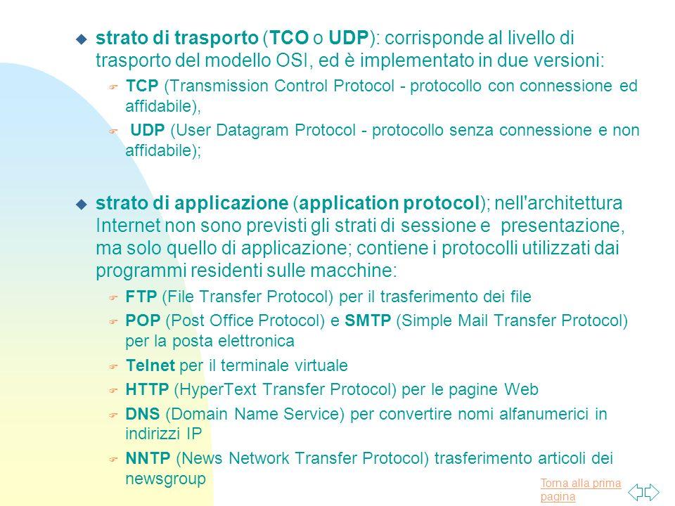 Torna alla prima pagina u strato di trasporto (TCO o UDP): corrisponde al livello di trasporto del modello OSI, ed è implementato in due versioni: F T
