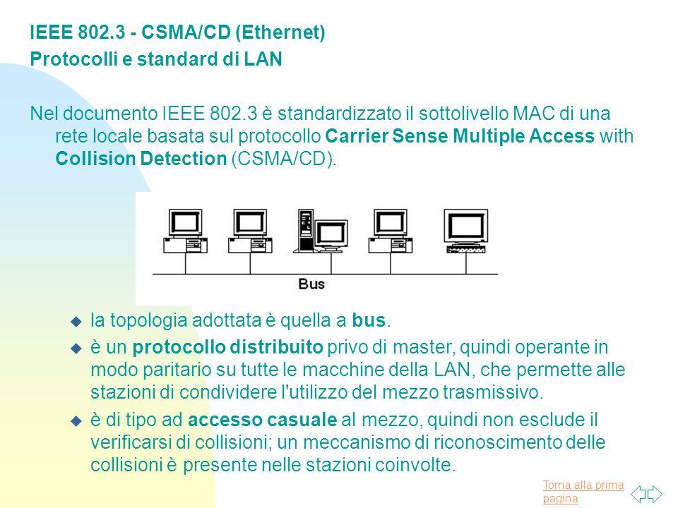 Torna alla prima pagina IEEE 802.3 - CSMA/CD (Ethernet) Protocolli e standard di LAN Nel documento IEEE 802.3 è standardizzato il sottolivello MAC di