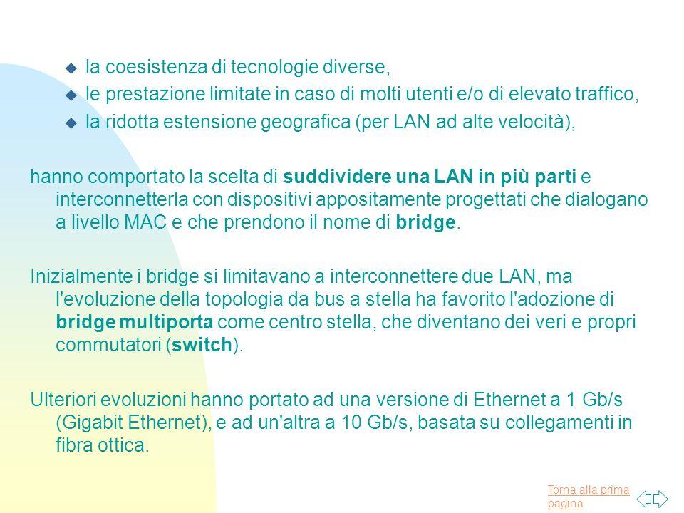 Torna alla prima pagina u la coesistenza di tecnologie diverse, u le prestazione limitate in caso di molti utenti e/o di elevato traffico, u la ridott