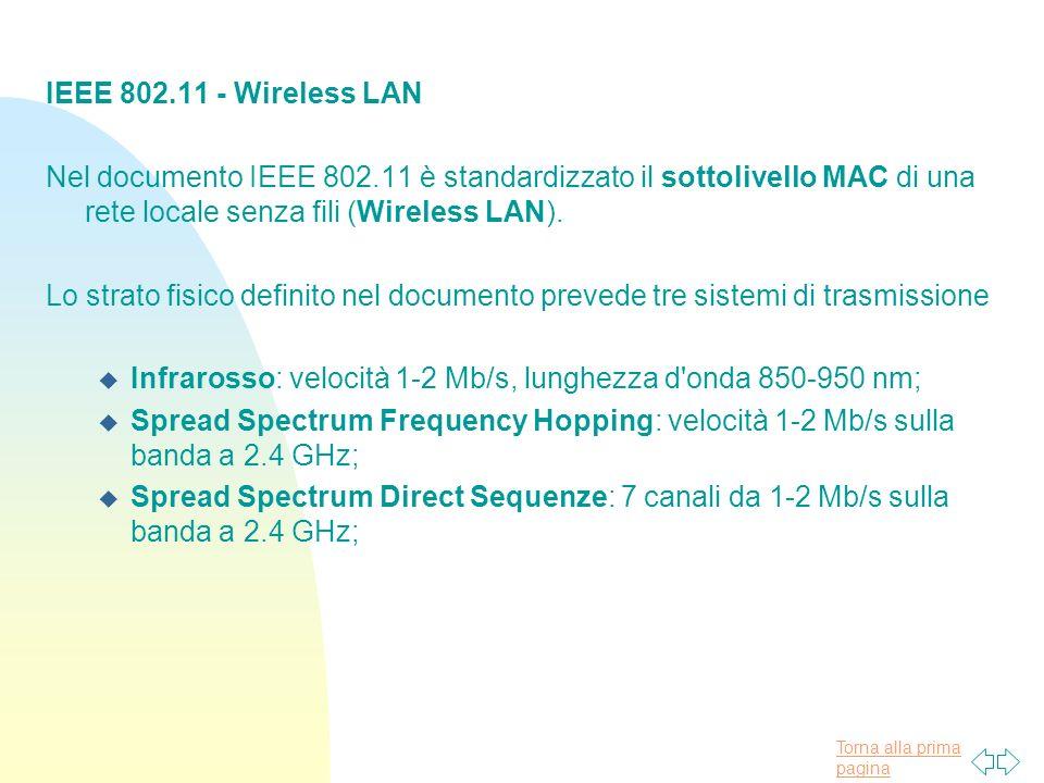 Torna alla prima pagina IEEE 802.11 - Wireless LAN Nel documento IEEE 802.11 è standardizzato il sottolivello MAC di una rete locale senza fili (Wirel
