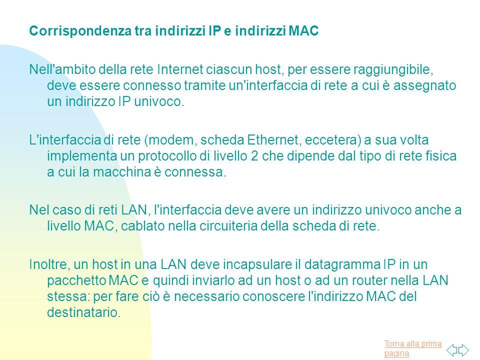 Torna alla prima pagina Corrispondenza tra indirizzi IP e indirizzi MAC Nell'ambito della rete Internet ciascun host, per essere raggiungibile, deve e