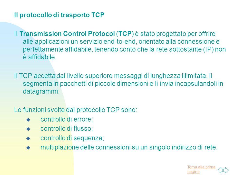 Torna alla prima pagina Il protocollo di trasporto TCP Il Transmission Control Protocol (TCP) è stato progettato per offrire alle applicazioni un serv
