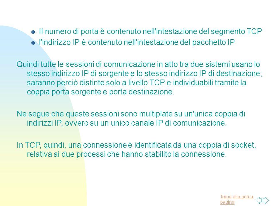 Torna alla prima pagina u Il numero di porta è contenuto nell'intestazione del segmento TCP u l'indirizzo IP è contenuto nell'intestazione del pacchet