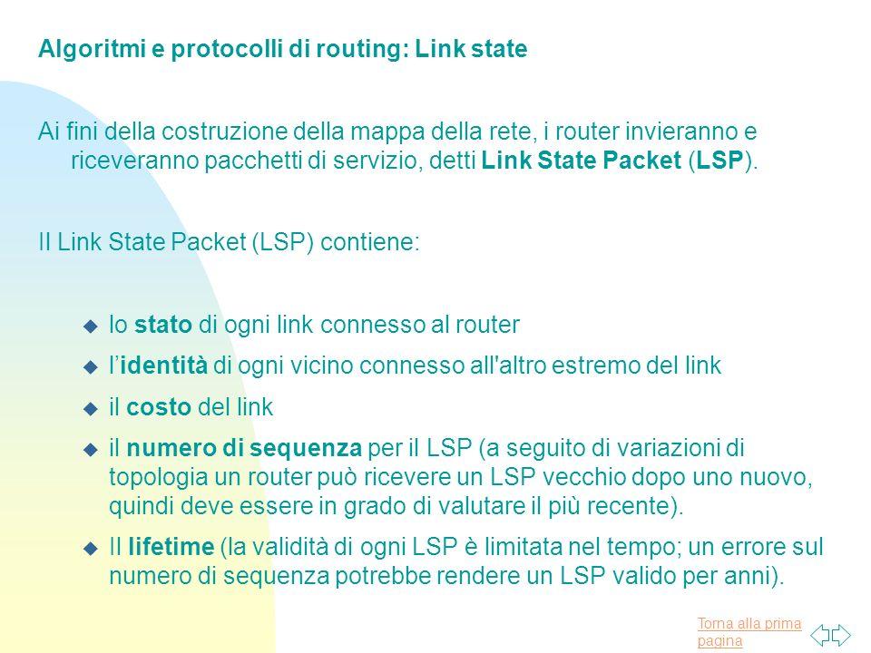Torna alla prima pagina Algoritmi e protocolli di routing: Link state Ai fini della costruzione della mappa della rete, i router invieranno e riceveranno pacchetti di servizio, detti Link State Packet (LSP).