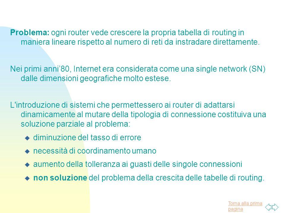 Torna alla prima pagina Problema: ogni router vede crescere la propria tabella di routing in maniera lineare rispetto al numero di reti da instradare direttamente.