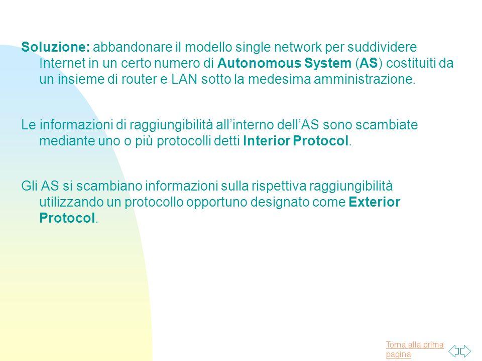 Torna alla prima pagina Soluzione: abbandonare il modello single network per suddividere Internet in un certo numero di Autonomous System (AS) costituiti da un insieme di router e LAN sotto la medesima amministrazione.