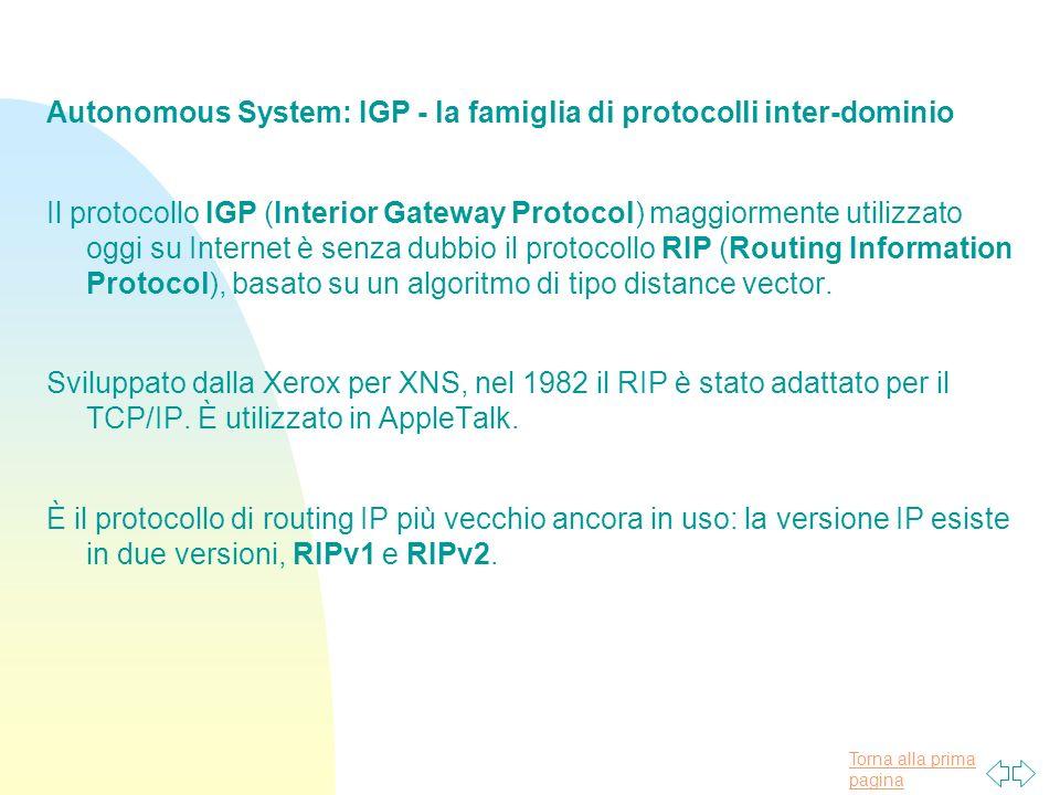 Torna alla prima pagina Autonomous System: IGP - la famiglia di protocolli inter-dominio Il protocollo IGP (Interior Gateway Protocol) maggiormente utilizzato oggi su Internet è senza dubbio il protocollo RIP (Routing Information Protocol), basato su un algoritmo di tipo distance vector.