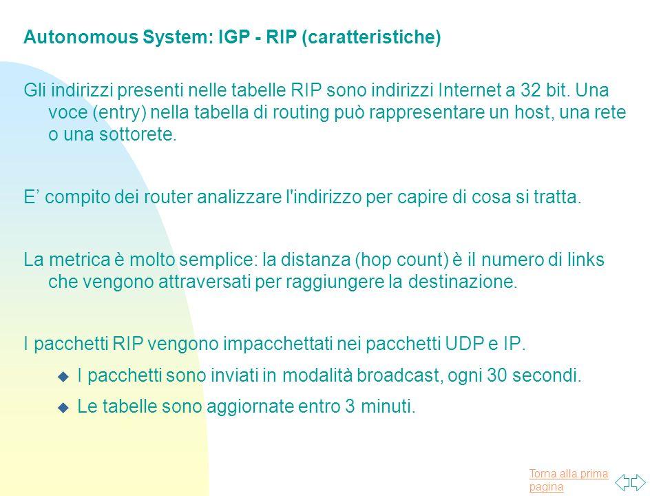 Torna alla prima pagina Autonomous System: IGP - RIP (caratteristiche) Gli indirizzi presenti nelle tabelle RIP sono indirizzi Internet a 32 bit.