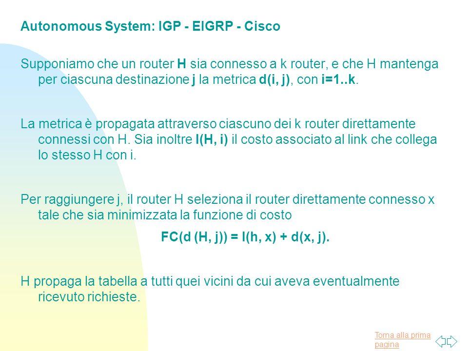 Torna alla prima pagina Autonomous System: IGP - EIGRP - Cisco Supponiamo che un router H sia connesso a k router, e che H mantenga per ciascuna destinazione j la metrica d(i, j), con i=1..k.