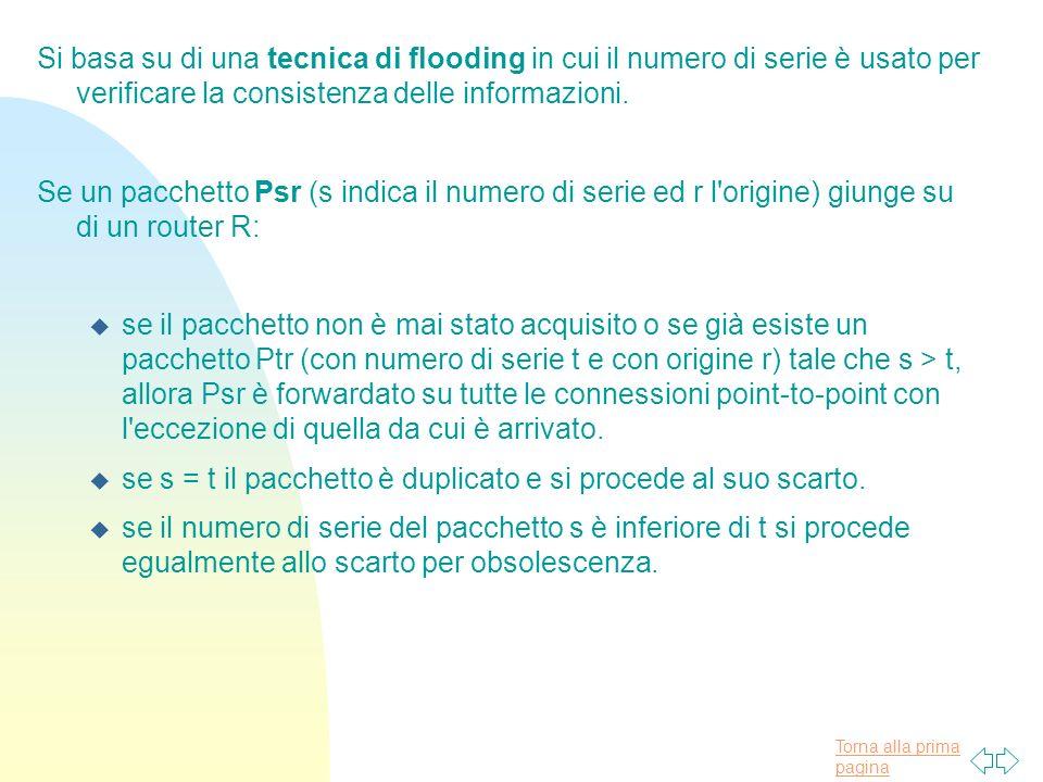 Torna alla prima pagina Si basa su di una tecnica di flooding in cui il numero di serie è usato per verificare la consistenza delle informazioni.