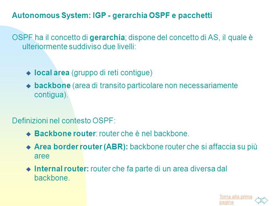 Torna alla prima pagina Autonomous System: IGP - gerarchia OSPF e pacchetti OSPF ha il concetto di gerarchia; dispone del concetto di AS, il quale è ulteriormente suddiviso due livelli: u local area (gruppo di reti contigue) u backbone (area di transito particolare non necessariamente contigua).