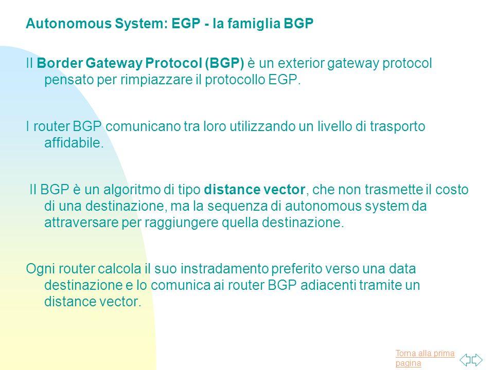 Torna alla prima pagina Autonomous System: EGP - la famiglia BGP Il Border Gateway Protocol (BGP) è un exterior gateway protocol pensato per rimpiazzare il protocollo EGP.