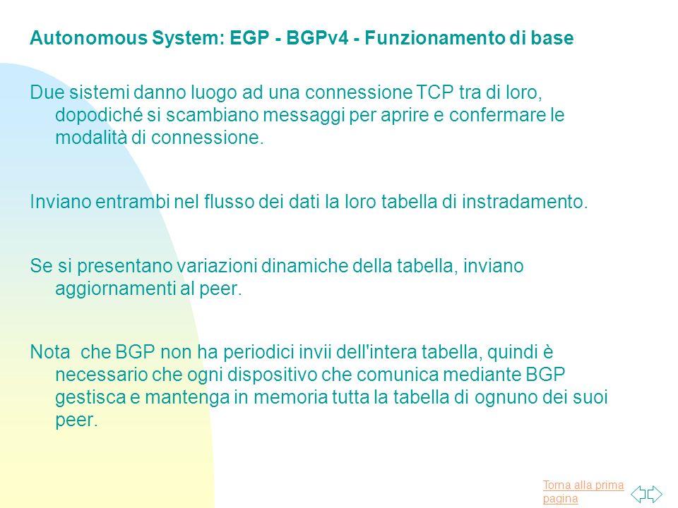 Torna alla prima pagina Autonomous System: EGP - BGPv4 - Funzionamento di base Due sistemi danno luogo ad una connessione TCP tra di loro, dopodiché si scambiano messaggi per aprire e confermare le modalità di connessione.