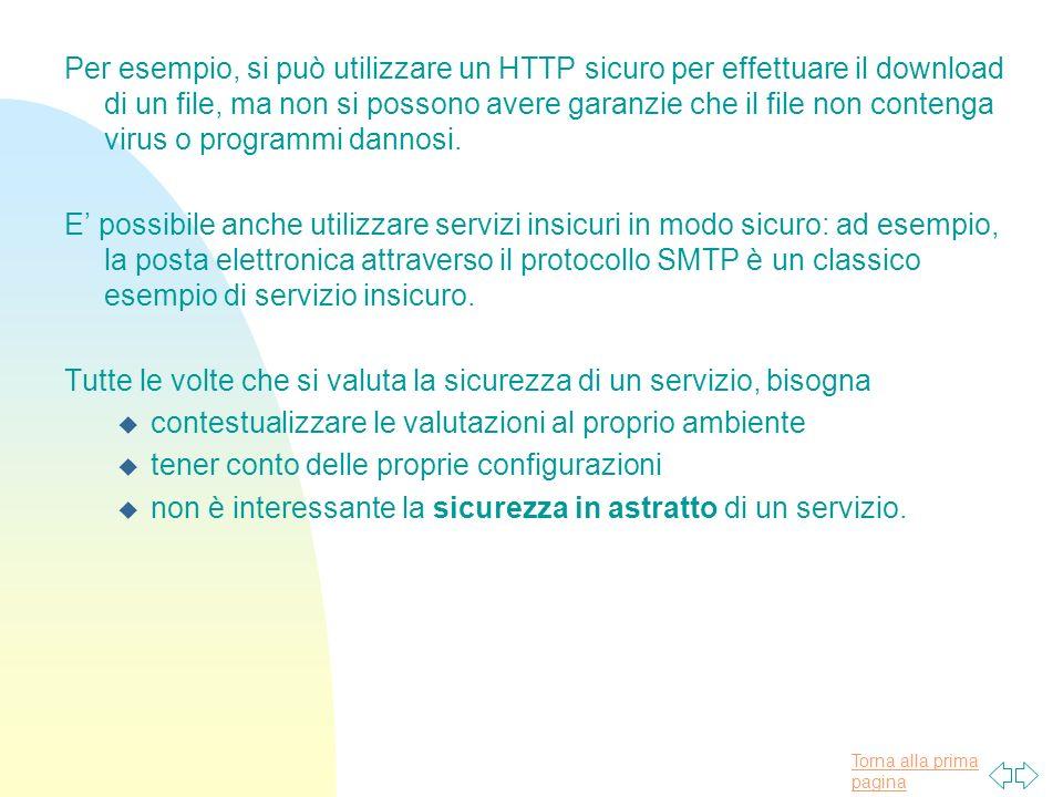 Torna alla prima pagina Per esempio, si può utilizzare un HTTP sicuro per effettuare il download di un file, ma non si possono avere garanzie che il file non contenga virus o programmi dannosi.
