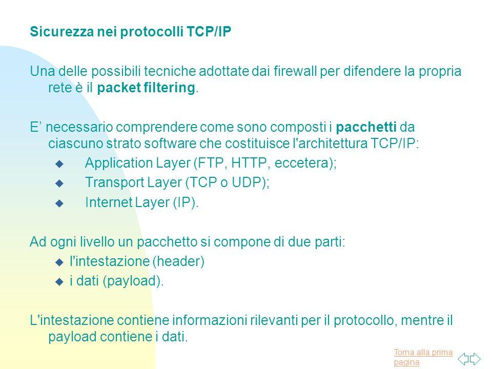 Torna alla prima pagina Sicurezza nei protocolli TCP/IP Una delle possibili tecniche adottate dai firewall per difendere la propria rete è il packet filtering.
