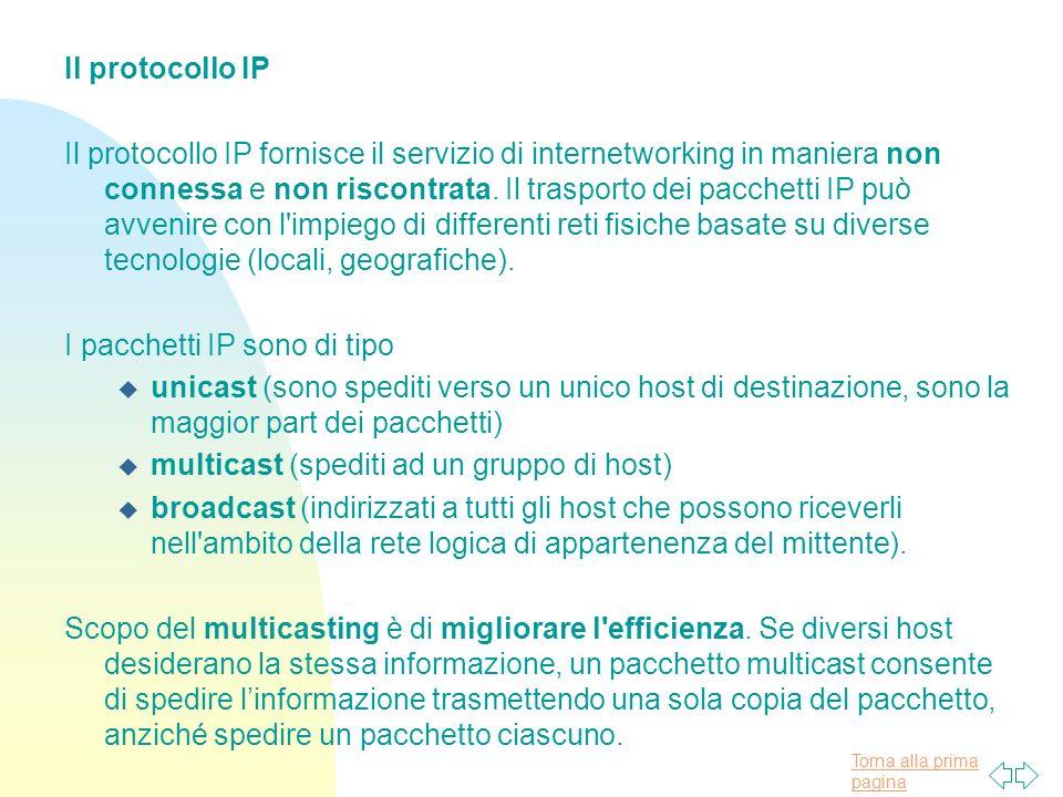Torna alla prima pagina Il protocollo IP Il protocollo IP fornisce il servizio di internetworking in maniera non connessa e non riscontrata.