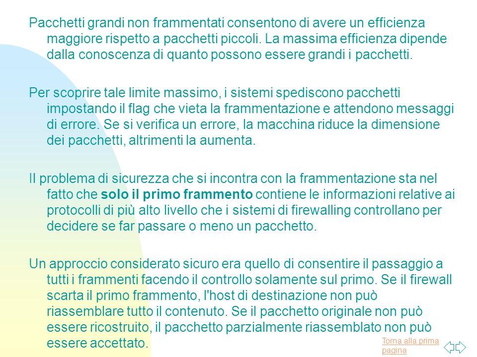 Torna alla prima pagina Pacchetti grandi non frammentati consentono di avere un efficienza maggiore rispetto a pacchetti piccoli.