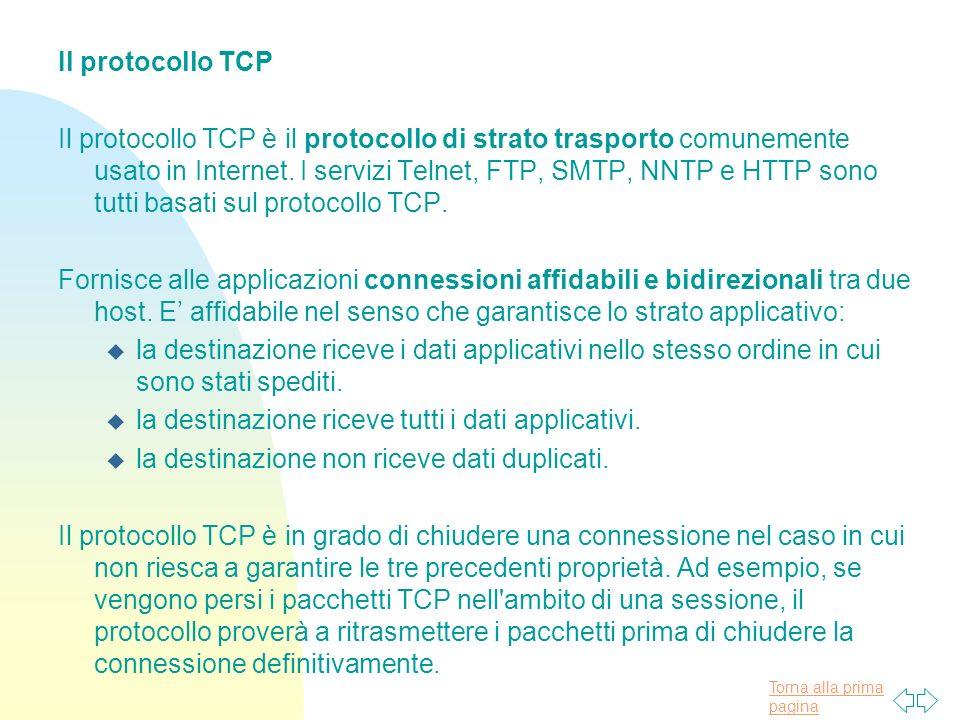 Torna alla prima pagina Il protocollo TCP Il protocollo TCP è il protocollo di strato trasporto comunemente usato in Internet.