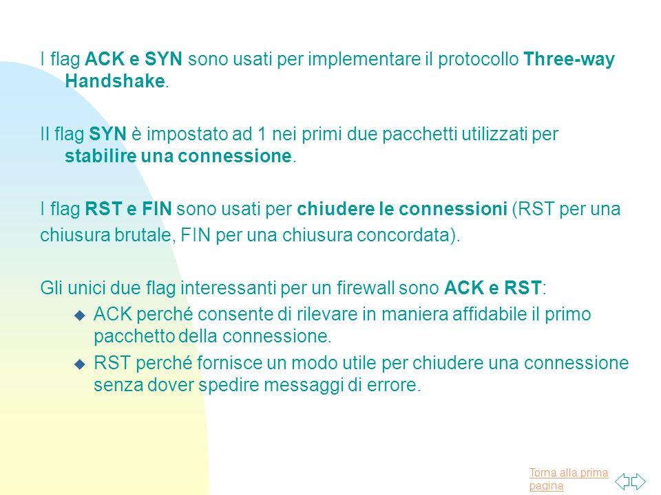 Torna alla prima pagina I flag ACK e SYN sono usati per implementare il protocollo Three-way Handshake.